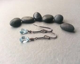 Dark Silver Pale Blue Earrings Oxidized Sterling Silver Pear-Cut Blue Topaz Gemstones Dainty Delicate Feminine Dangles Romantic Elegant