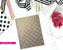 Gold Foil Effect Notebook/Journal/Spiral Bound Preppy Pattern