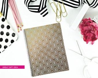 Gold Foil Effect Notebook/Journal/Spiral Bound Preppy Pattern