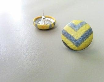 Yellow Chevron Print Fabric Button Earrings