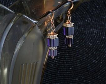 Rose gold purple glass earrings