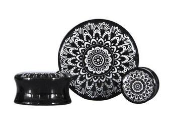 Black and White Mandala Plug - Sizes 10mm to 30mm