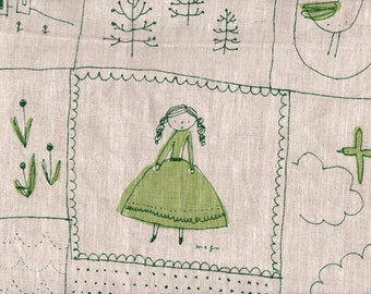 Patchwork in Green  by Megumi Sakakibara for Yuwa of Japan