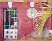 Bermuda Home, Travel Photography, Pink House, Green Botanical Fine Art - Pink Summer - pink green, Beach house Decor, modern style