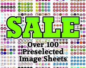New 2015 Sale B - 1 inch Circles - Instant Download Bottle Cap Image Sheet  (includes OVER 100 PRE-Selected image sheets shown)
