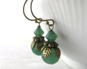 Green Bead Earrings - Swarovski Bead Earrings - Green Bead Earrings - Antique Bronze Dangle Earrings