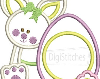 Girly Easter Bunny with Monogrammed Egg - Custom monogram - Infants to Youth