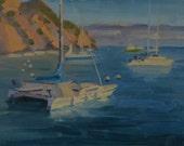 Sailboat - Catalina - California - Plein Air - Avalon - Island - Water - Cliffs - Mast - Anchor - Sea - Seascape - Cove - Inlet - Catamaran