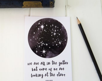 Stars Postcard with Oscar Wilde Quote - 'We are all in the gutter but some of us are looking at the stars' Starry Sky Postcard Print