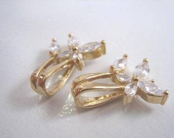 CZ Pendant bail, Flower bail, CZ flower bail for half drilled beads, pearls, Luxury bail, 1pc
