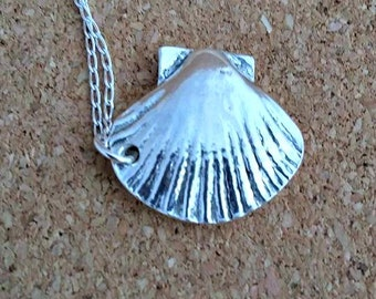 Seashell Pendant Silver Seashell Necklace Seashell Charm Necklace