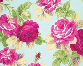 1 yard Jennifer Paganelli Good Company Isabelle in opal . large pink and blue modern floral on vintage sky blue