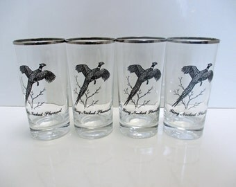 Federal Glass Sportsman Pattern - Water Glasses Tumblers Platinum Silver Rim - Ring Necked Pheasant - Set of 4