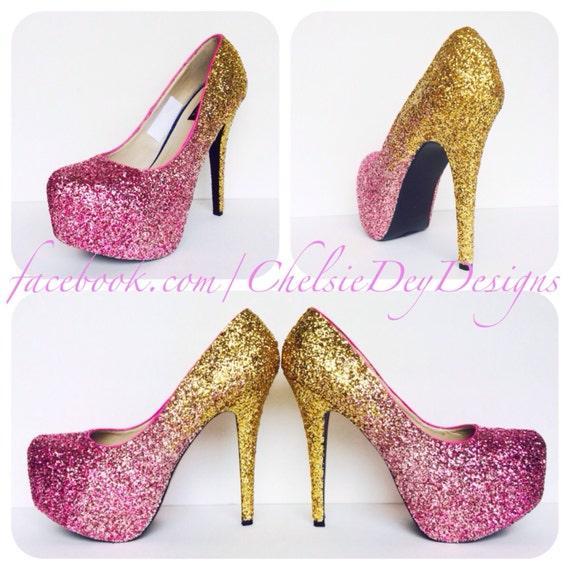 Glitter High Heels Hot Pink Gold Ombre Pumps by ChelsieDeyDesigns