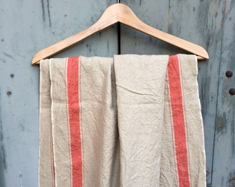 Antique german linen, beautiful oatmeal colored linen with red stripes 88x290cm (35x114in)