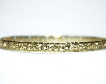 Moroccan Filigree Bangle 14k 14kt Gold Plated Gp Vintage Bracelet Morocco Cuff Fashion New, gold plated bangle, vintage gold bangle