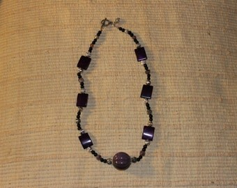 PURPLE, SILVER and BLACK necklace
