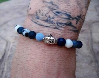 Buddha Bracelet, Mens Stackable Bracelet, Silver Bracelet, Black Bracelet, Blue Bracelet, Stretch Bracelet, Jasper Bracelet, Yoga Bracelet