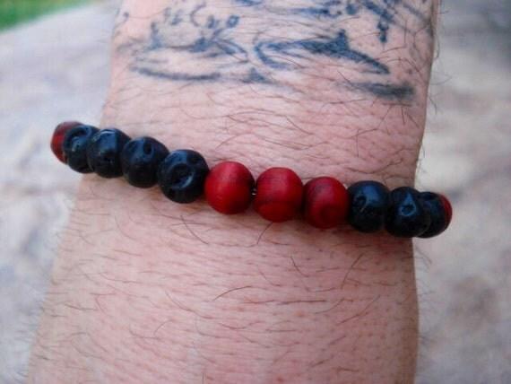 Mens Black Bracelet, Mens Lava Bracelet, Red Bracelet, Wood Bracelet, Women's Bracelet, Mala Bracelet, Beaded Bracelet, Stackable Bracelet