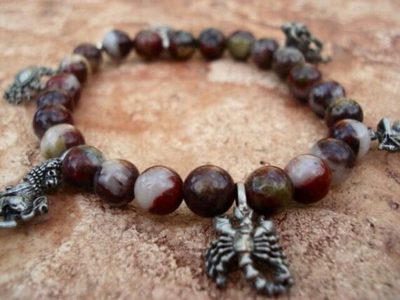 Zodiac Charm Bracelet, Brown Jasper Bracelet, Mens Women Bracelet, Gemstone Beaded Stretch Hippie Bohemian Bracelet, One Of A Kind, OOAK