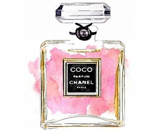 Coco Perfume Print from Watercolor Painting  - Pink Black No 5 Parfum Mademoiselle Chance Noir Perfumes