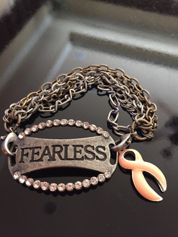uterine cancer survivor bracelet peach by rockyourcausejewelry
