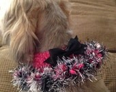 Bright pink black and silver collar.  Dog collars , dog clothes , dog outfits , small dogs, pet clothing, dog collars,