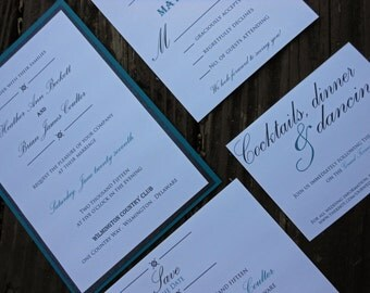 Black and Teal Wedding Invitation Suite - Metallic Black, Teal, Save the Date, Invitation