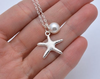Set of 7 Starfish Necklaces, 7 Bridesmaid Pearl Necklaces, Starfish and Pearl Necklace, Beach Bridesmaid Jewelry, Real Silver Chain 0199