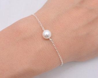 Set of 8 Single Pearl Bracelets, 8 Sterling Silver Bridesmaid Bracelets, One Pearl Sterling Silver Bracelet 0165