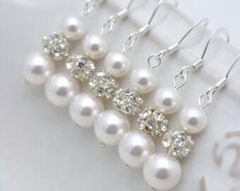 4 Pairs Pearl Bridesmaid Earrings, 4 Pairs Long Pearl Earrings, Pearl and Rhinestone, Set of 4 Bridesmaid Gifts 0151