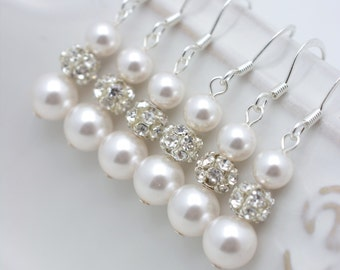 5 Pairs Pearl Bridesmaid Earrings, Long Pearl Earrings, Pearl and Rhinestone Earrings, Pearl Dangle Earrings, Bridesmaid Gifts 0151