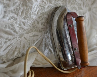 Vintage Travel Iron Wood and Red Handle