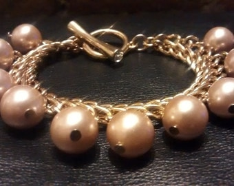 Vintage Bling Champagne Pearl //  Gold 2X  Chain & Crystal Toggle Bracelet