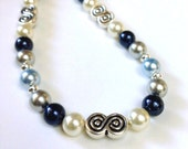 Blue Crystal Pearl Necklace, Beaded Jewelry, Swarovski Crystal Necklace, Beaded Necklace, Pearl Jewelry, Blue Pearl