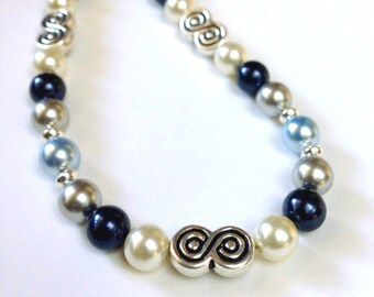 Blue Crystal Pearl Necklace, Beaded Jewelry, Swarovski Crystal Necklace, Pearl Beaded Necklace, Pearl Jewelry, Blue Bead Necklace