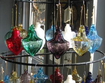 Mold blown glass Fluted Millennium ornament