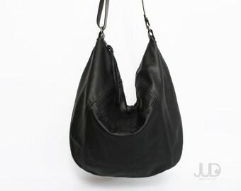 Black leather bag - leather purse SALE hobo leather bag - leather tote bag slouchy bag crossboy bags leather shoulder bag