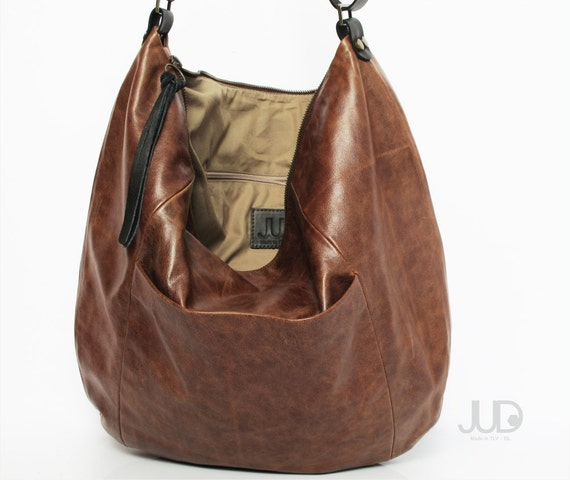 Brown leather hobo bag soft leather purse SALE brown leather