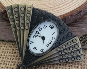 1pcs 55mmx41mm Bronze color Fan pocket watch charms pendant