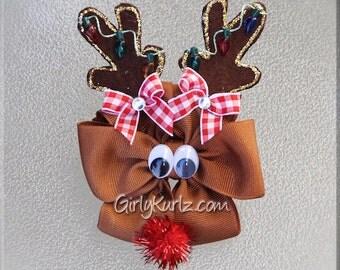 Reindeer Hair Bow, Reindeer Hair Clip, Christmas Hair Bow, Christmas Hair Clip, Animal Hair Bow, Animal Hair Clip