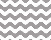Riley Blake Wave Fabric, Gray and White, Cotton Sewing Material, Quilting, Clothing, Craft, Fat Quarter, Half Yard, 1 Yard, By The Yard
