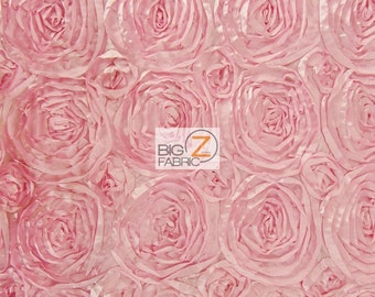 "Rosette Style Taffeta Fabric - LIGHT PINK - 52/58"" Width By The Yard Wedding Prom Bridal Dress"