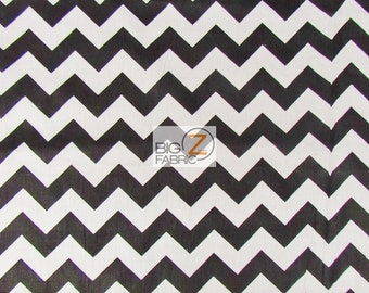 "Zig Zag Chevron Polycotton Fabric - White/Black (1"") - Sold By The Yard - Poly Cotton - P248"