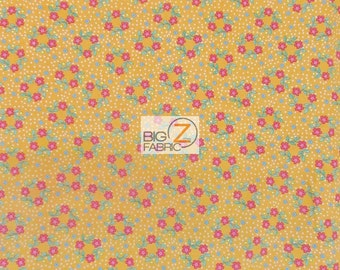 """Bee Orange By Fabric Quilt Inc.100% Cotton Fabric - 45"""" Width Sold By The Yard (FH-1296) Floral"""