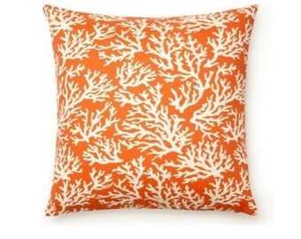DECORATIVE THROW Pillows  16x16 Orange Throw Pillow Cover  Mandarin Orange  pillows Indoor / Outdoor  Beach Cottage Blue Green