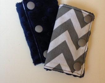 Grey & White Chevron Car Seat Strap Covers