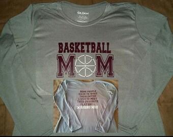 Basketball Mom Long Sleeve Performance Shirt with Bling