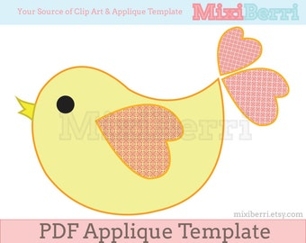 Sweet Bird Applique Template PDF Instant Download