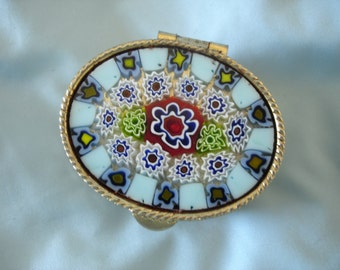 Vintage Italian Pill Box Millefiori Murano Art Glass Silver Tone Metal Floral Trinket Box